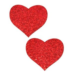 Pastease Red Glitter Heart Nipple Pasties